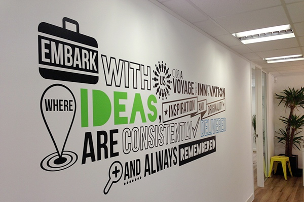Interior office wall graphics