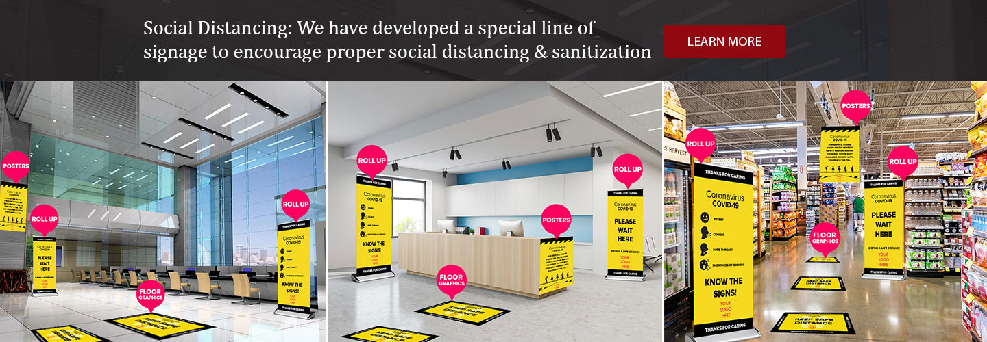 Social Distancing Banners by Surely Signs