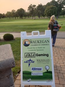 A-frame signage for Golf in Chicago, I