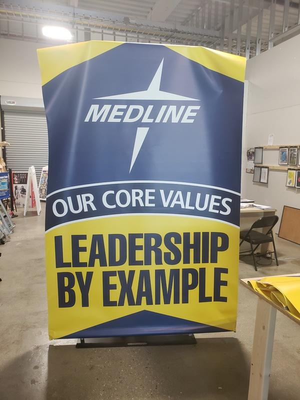 Indoor vinyl banner for MEDLINE in Chicago, IL